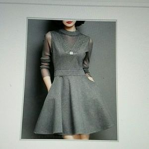 Dresses & Skirts - Cute Grey Dress, mock turtle neck, sheer sleeves.